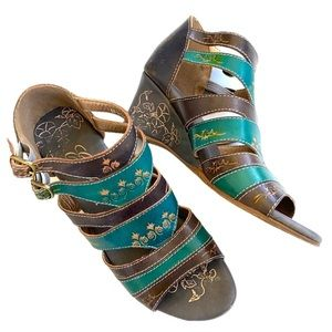 EUC Corky's leather wedge sandals
